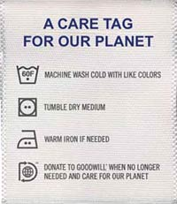 Photo of Levi's Care Tag for Our Planet