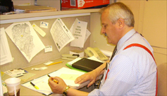 Bill Thigpen performs office work at Goodwill Keystone Area.