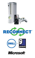 Xbox and Zune MP3 player above ReConnect, Dell, Goodwill and Microsoft logos