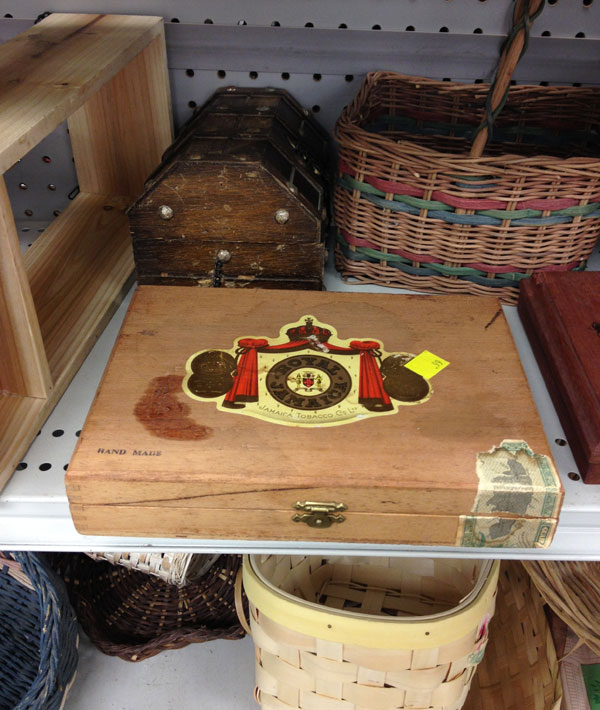 Thrift store cigar boxes