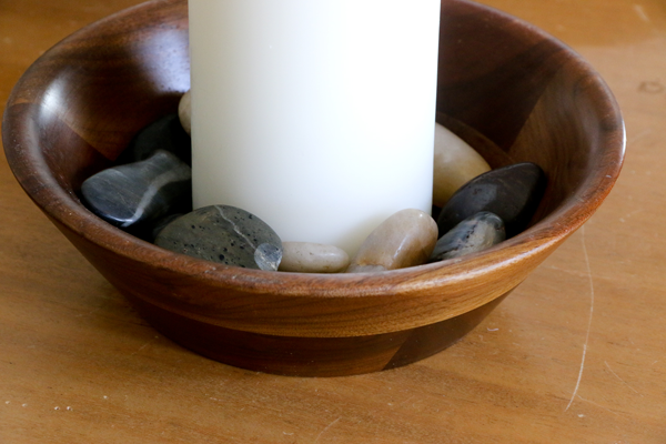 Goodwill Candle and Stone Centerpiece Materials
