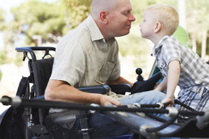 Father with disability with son