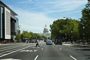 DC street scene with US Capitol in the background