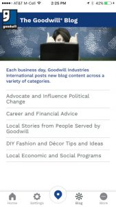 Goodwill Mobile App Blog Screen