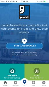 Goodwill Mobile App Home Screen