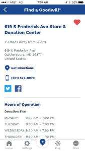 Goodwill Mobile App Locator Details